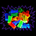 Blacklight UV-Reactive Neon Fluorescent Dayglo 50ml Shot Glasses - 4 pack