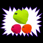 Blacklight UV-Reactive Neon Fluorescent Dayglo Ultra Violet Beanie Hat