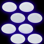 UV Reactive Bright White Plastic Party plates -Pack of 8
