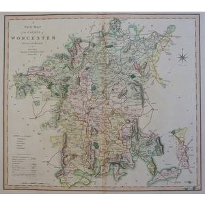 A New Map of the County of Worcester, Divided into Hundreds - C. Smith, 1804