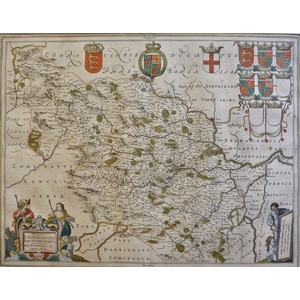 The west riding of yorkshire - ducatus eboracensis pars occidentalis - Original antique map by J....