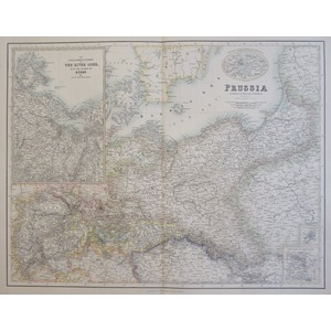 Johnston W. K. - Map of Prussia. Original antique steel-plate engraving with original colour  Dra...