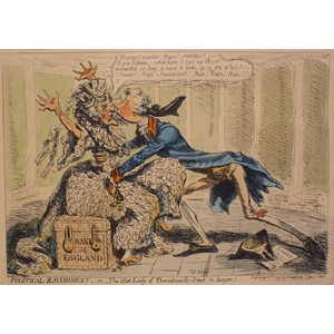 POLITICAL RAVISHMENT- OR THE OLD LADY OF THREADNEEDLE STREET IN DANGER - Original Antique Copper ...