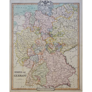 States of Germany - Original antique engraved map by G.F. Cruchley, 1852