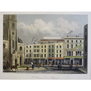 St Clement Danes - Original steel-plate engraving   Published by T.H. Shepherd, 1858  Hand colour...