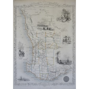Western Australia - J. Tallis, 1851. Original Antique Steel Engraved Map. With Original Hand-Colo...