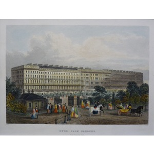 Hyde Park Gardens. Original antique engraving. Handcoloured. Published for Mighty London, 1858.