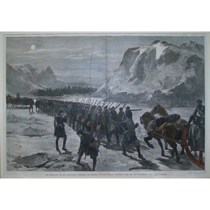 The rebellion in the north-west territory of canada: colonial troops marching over the ice of nep...