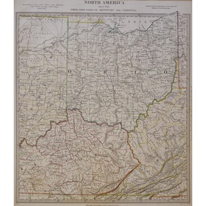 North America - Sheet VIII - Ohio, with parts of Kentucky and Virginia -  Original Hand Coloured ...