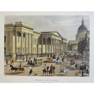 General Post Office, St. Martin's-le-Grand -  Original steel-plate engraving   Published by T.H. ...