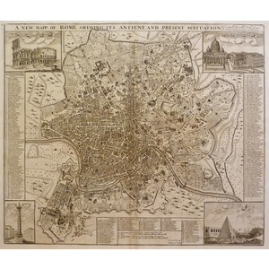 Rome, a new map of - shewing its antient and present scituation