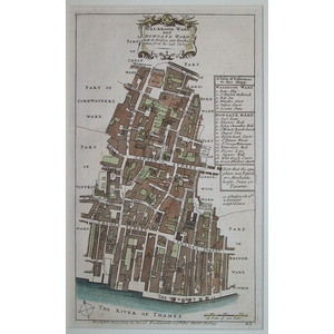 Stow, John (1525 - 1605) - Walbrook ward and dowgate ward - Original antique copper engraved map ...