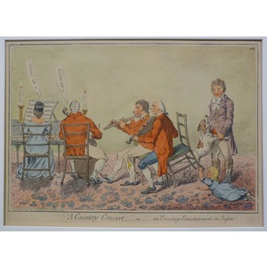 A Country Concert - or an Evenings Entertainment in Sussex. James Gillray. Original antique engra...