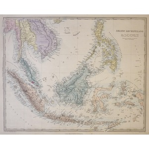 Asiatic Archipelago - Original hand coloured antique map. Engraved by J and C Walker. Published b...