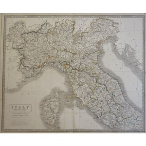 Italy, North Part - Original antique engraved map by A.K. Johnston, 1843