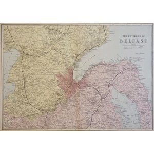 Belfast, The Environs of - Original antique map. Published by G.W. Bacon, 1881 for the