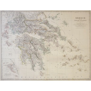 Greece and the Ionian Islands - Original antique map by Keith Johnston F.R.S.E.  Published by W. ...