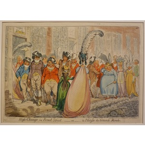 High change in bond street. Original copper engraving by James Gillray, 1851.
