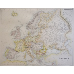 Europe - Original antique map by J. Bartholomew, F.R.G.S. Chromolithograph Published by A. Fullar...