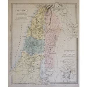 Palestine in the Time of Our Saviour - Original hand coloured antique map. Engraved by J and C Wa...