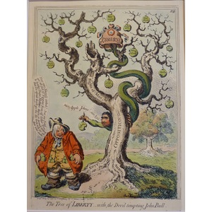 The Tree Of Liberty - Original Antique Copper Engraving by James Gillray, 1851