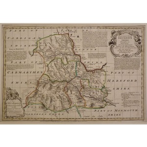 An accurate map of brecknockshire - bowen, 1780