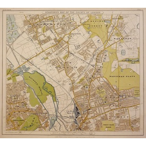 STANFORDS MAP OF THE COUNTY OF LONDON - SHEET 4 - Walthamstow, Leyton, Hackney Marsh, Wanstead