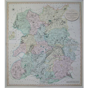 A new map of shropshire divided into hundnreds - cary