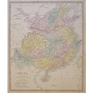 China, The Interior - Original antique map. Engraved by J and C Walker. Published by Edward Stanf...