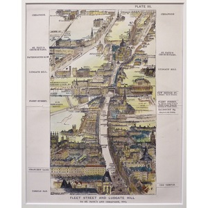 Fleet Street and Ludgate Hill, To St. Paul's and Cheapside, etc - Original lithograph, after T. S...