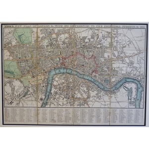 TEGG. NEW PLAN OF LONDON & WITH 360 REFERENCES TO THE PRINCIPLE STREETS. Original Hand coloured a...