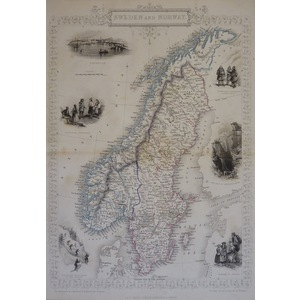Sweden and Norway - Original antique steel engraved map.  With original hand-colour.  Published b...
