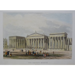 The British Museum. Original Antique Engraving Published for Mighty London in 1858. Hand coloured.