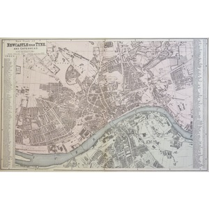 Newcastle Upon Tyne and Gateshead - Original antique map. Published by G.W. Bacon, 1881 for the