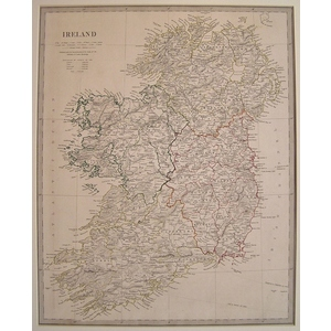Ireland - Original hand coloured antique map. Engraved by J and C Walker. Published by SDUK, 1842...