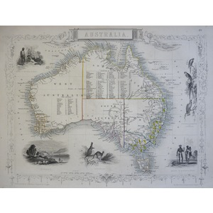 Australia - J. Tallis, 1851. Original Antique Steel Engraved Map. With Original Hand-Colour. Publ...