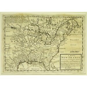 A map of new france containing canada, louisiana etc, in north america