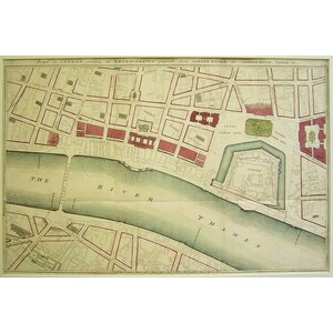Part of london showing the improvements proposed about london bridge, the tower, etc