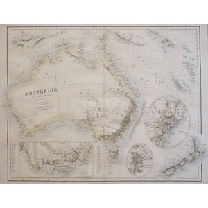 Australia and New Zealand - Original antique map by Arrowsmith, 1874