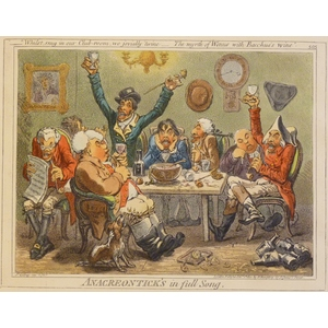 Anacreontick's in full Song - Original Antique Copper Engraving By James Gillray. Hand Coloured. ...