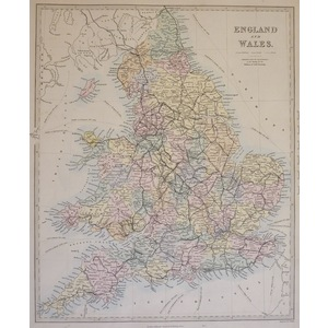 England and Wales - Original hand coloured antique map. Engraved by J and C Walker. Published by ...