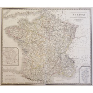 Johnston A. K. - Map of France. Original antique steel-plate engraving with original colour Drawn...