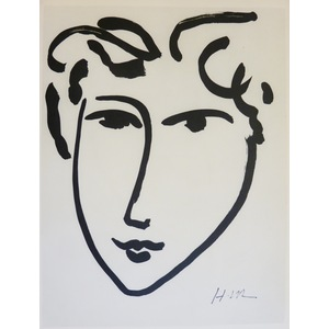 Matisse , Henri - Head of a Woman (2). Original heliogravure published in 1958 by Teriade for Ver...