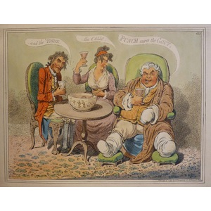 Punch Cures the Gout, the Colic and the t'sick - Original copper engraving by James Gillray