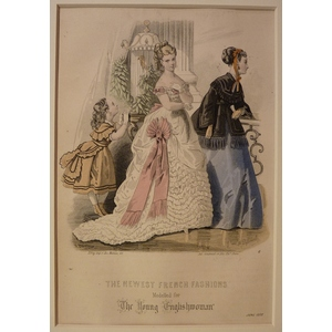 The newest french fashions - plate 6, june 1868