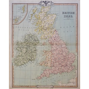 British Isles - Original antique engraved map by G.F. Cruchley, 1852