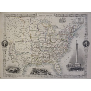 United States -  Original Antique Map, 1851. Published By John Tallis. With Original Hand-Colour....