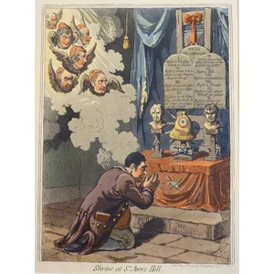 Shrine at St. Ann's Hill - Original Antique Copper Engraving by James Gillray, 1851