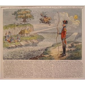 Lord longbow, the alarmist, discovering the miseries of ireland. Original copper engraving by Jam...