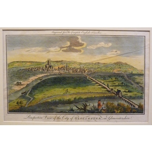 Gloucester ; Perspective View Of The City. Original antique engraving. Handcoloured. Published 1789.